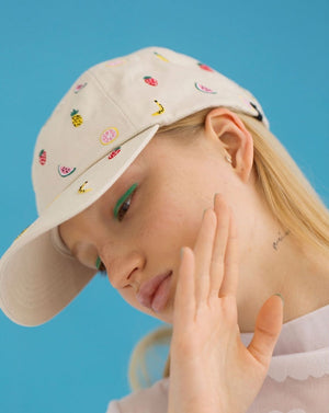 Embroidered pineapple Fruit Hat khaki Lazy Oaf | Pipe and row seattle