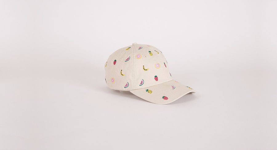 Embroidered strawberry Fruit Hat khaki Lazy Oaf | Pipe and row seattle