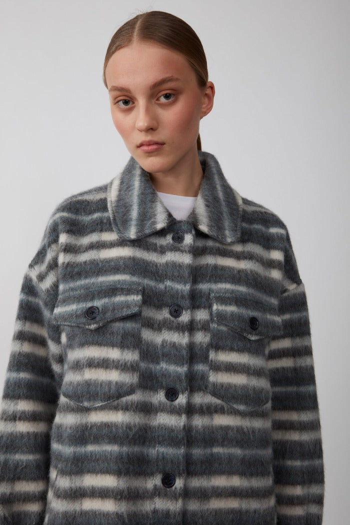 Just Female Gail balsam green stripe oversized jacket wool  recycled blend | PIPE AND ROW