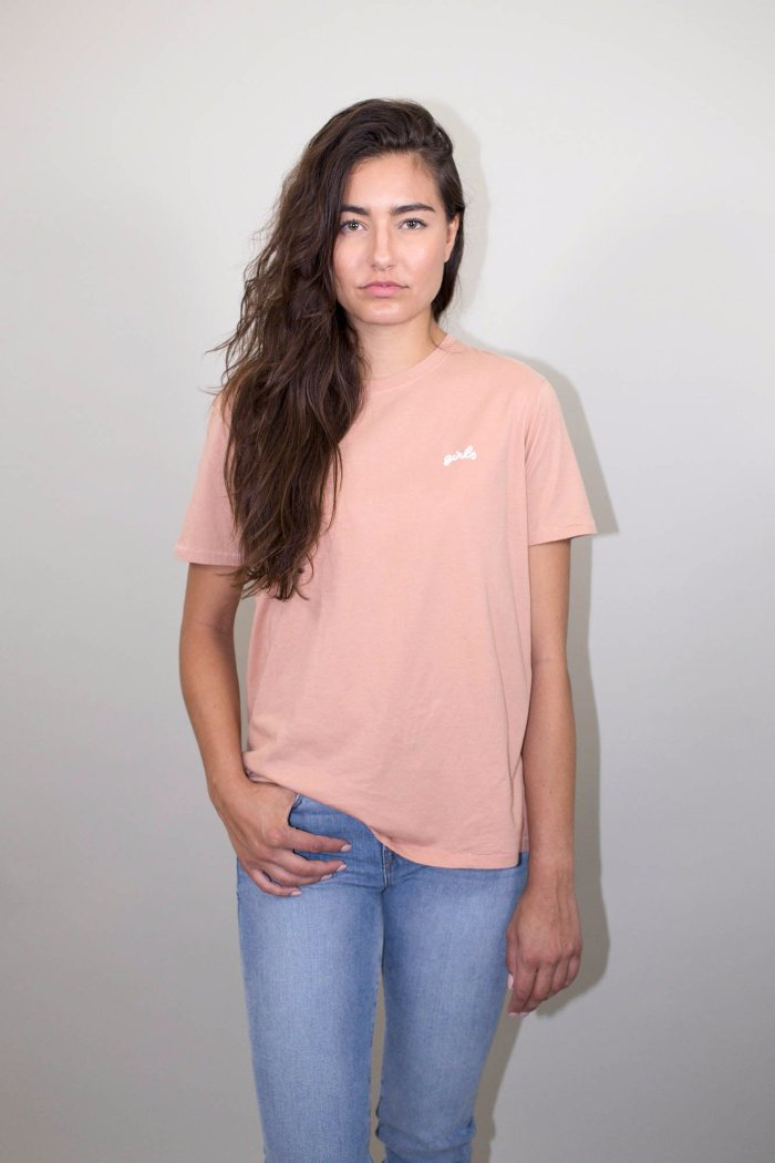 GIRLS CHAIN STITCH TEE NUDE Brunette the label | Pipe and Row Seattle Boutique