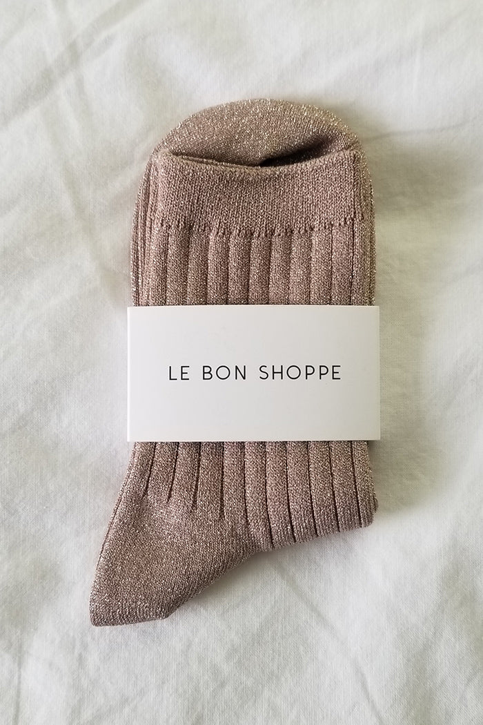 Le Bon Shoppe Her socks knit rib socks glittery tan jute | pipe and row