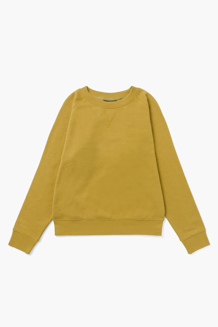 Richer Poorer classic fit crewneck recycled fleece sweatshirt golden verde | Pipe and Row