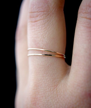 Ultra thin hammered stacking rings rose gold Jewelry minimal | PIPE AND ROW Seattle