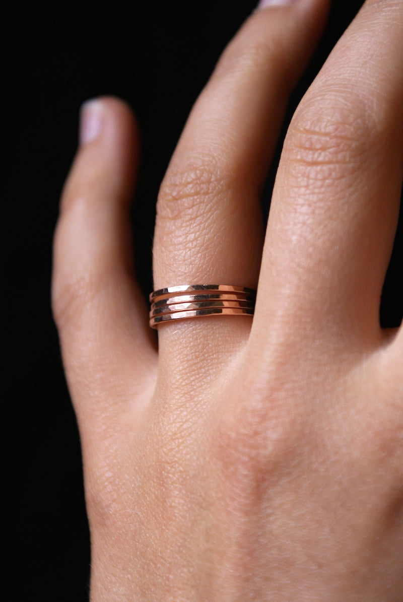 hammered stacking ring rose gold gold fill hannah naomi | pipe and row