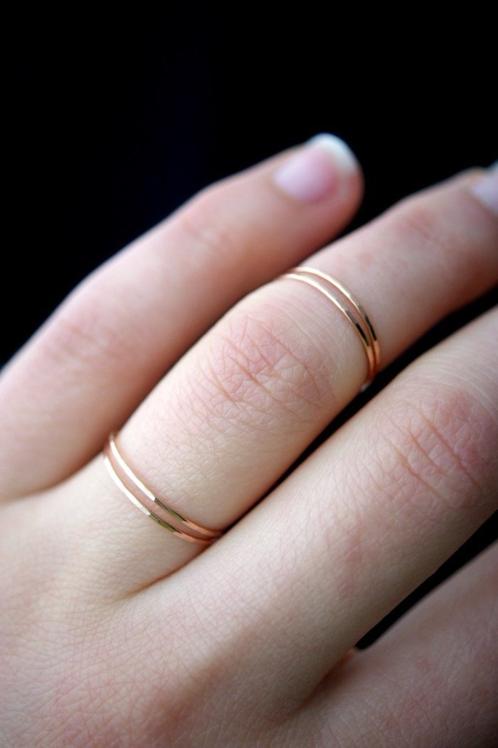 Ultra thin hammered stacking rings rose gold Jewelry handmade | PIPE AND ROW Seattle