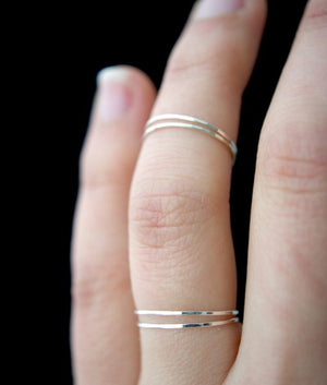 tiny hammered stacking rings sterling silver Jewelry handmade | PIPE AND ROW Seattle