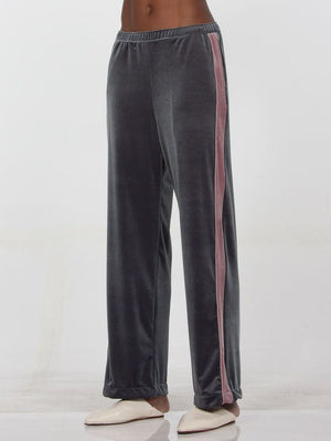 Paloma Wool Wadi soft pink velvet zip cropped flared pant | pipe and row