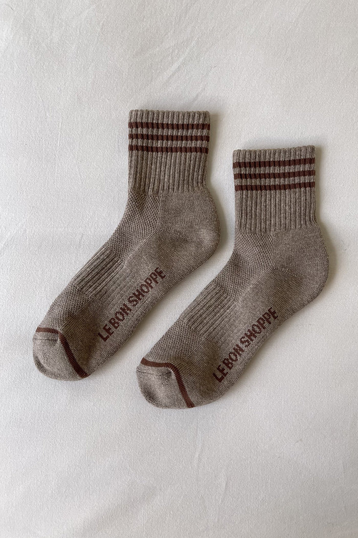 GIRLFRIEND crew SOCKS HAZELWOOD brown | Pipe and Row boutique Seattle
