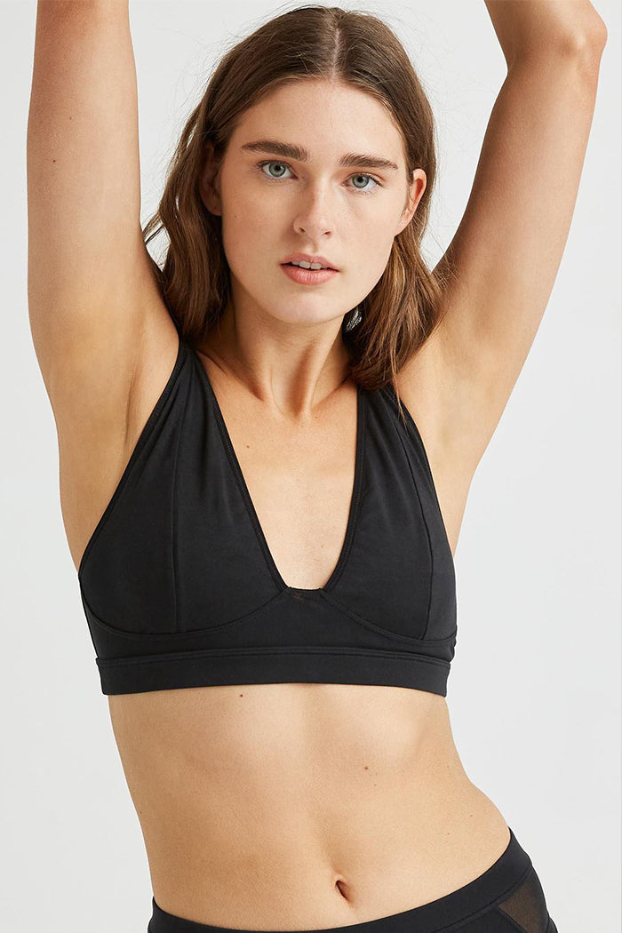 Richer Poorer high cut bralette deep v black | pipe and row boutique Seattle
