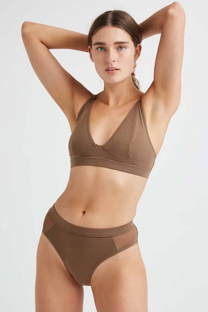 Richer Poorer high cut bralette in cub brown |pipe and row boutique Seattle