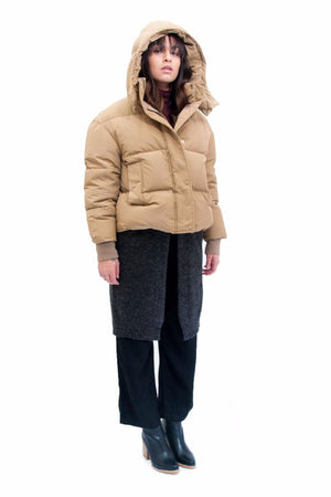Achro short down puffer parka beige Pipe and Row boutique Seattle