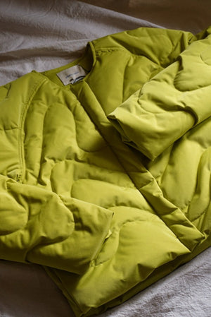 Paloma Wool Tycho quilted puffer jacket wave light khaki lime green | Pipe and Row