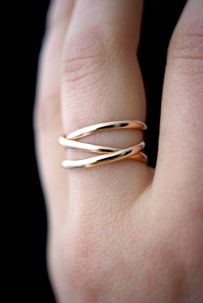 Infinity Spiral ring handmade 14K rose gold PIPE AND ROW boutique Seattle