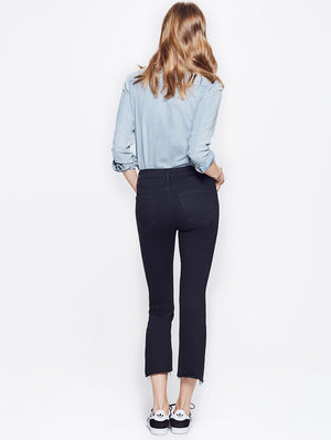 insider crop flare step fray black not guilty mother denim | pipe and row