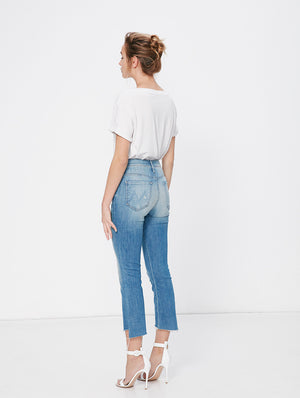 insider crop flare step fray shake well mother denim | pipe and row