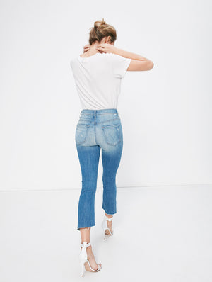 insider crop step blue fray shake well mother denim | pipe and row