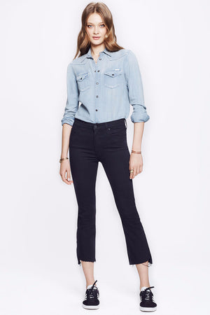insider crop step fray not guilty mother denim | pipe and row