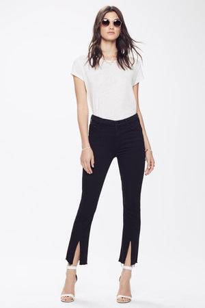 cropped insider slit ankle fray black not guilty | pipe and row