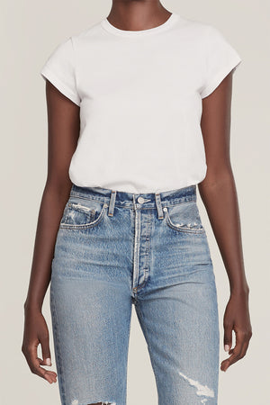 Agolde Irina cap sleeve bodysuit t-shirt in tissue white | pipe and row