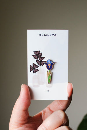 Hemleva purple Iris enamel flower pin | Pipe and Row boutique pipeandrow.com
