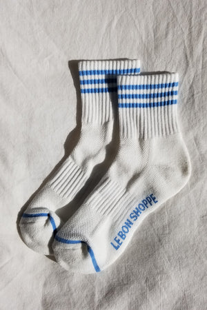 Le Bon Shoppe ivory blue  Girlfriend socks stripe ribbed varsity | pipe and row boutique