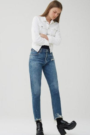 Jamie hi rise classic grade blue denim jeans agolde | pipe and row