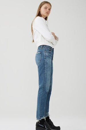 Jamie hi rise classic grade button blue denim jeans agolde | pipe and row