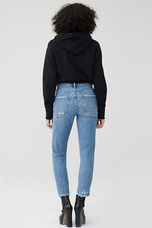 high waist slim straight light summer denim agolde passenger | pipe and row