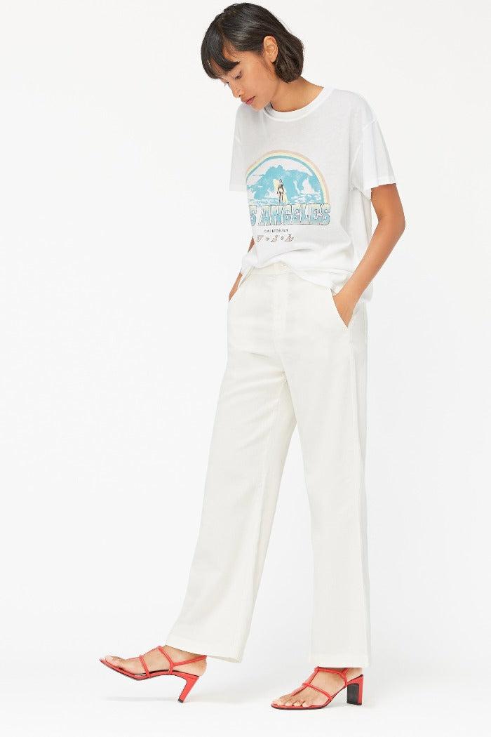 Lacausa Jojo trousers cotton crinkle cream panna cotta | Pipe and Row