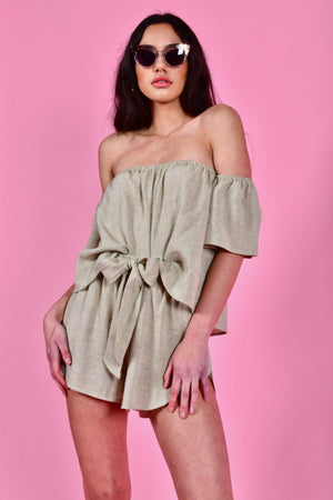 june top and tennis tie shorts khaki linen otis maclain | pipe and row