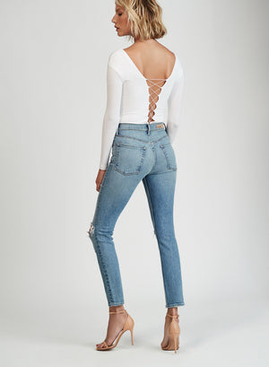 GRLFRND Denim Karolina High Rise distressed Skinny Jean What is Life | pipe and row boutique seattle
