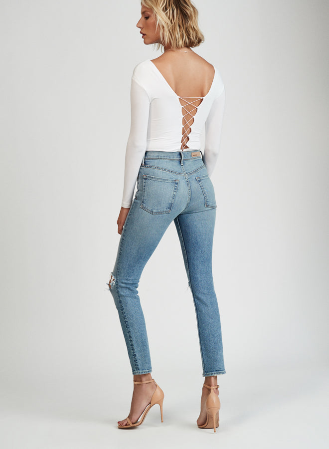 GRLFRND Denim Karolina High Rise Skinny Jean What is Life | pipe and row boutique seattle