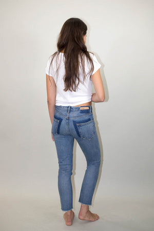 Karolina high rise pocket smiths skinny back grlfrnd denim | pipe and row