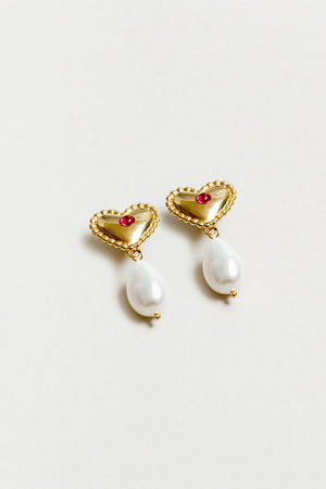Wolf Circus Katalina heart earrings ruby cobachons and fresh water pearls | pipe and row
