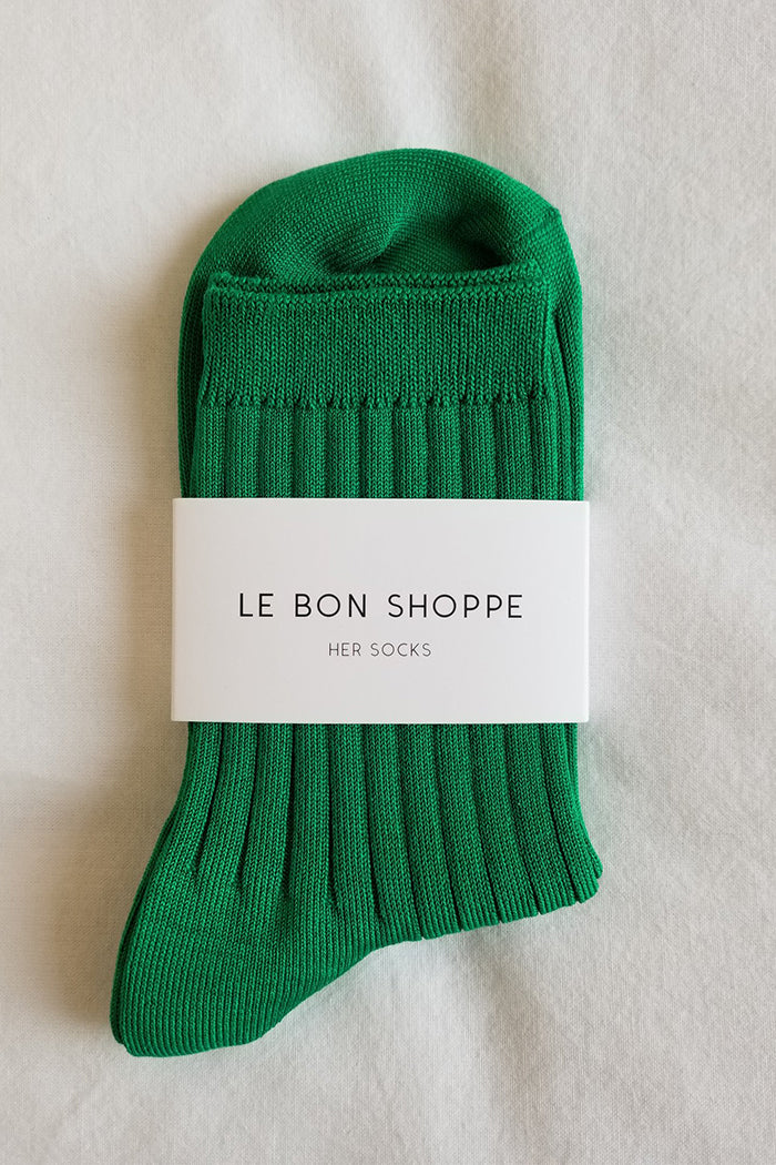 Le Bon Shoppe Her socks perfect height knit rib socks kelly green | Pipe and Row