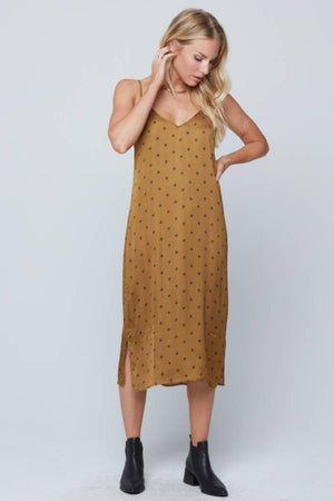 Knot Sisters spaghetti strap Sunday dress with killer bee print. PIPE AND ROW