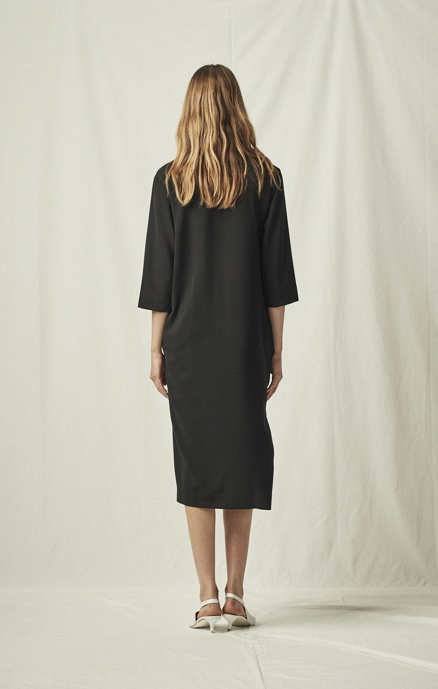 knot drape dress pockets black mijeong park | pipe and row