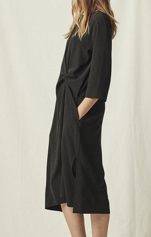 knot drape dress black relaxed mijeong park | pipe and row
