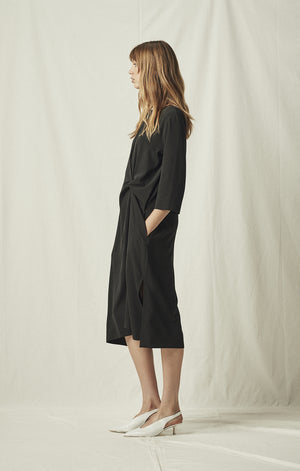 knot drape dress black midi length mijeong park | pipe and row
