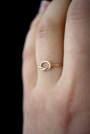 Minimal open knot stacking ring 14k Gold | pipe and row seattle