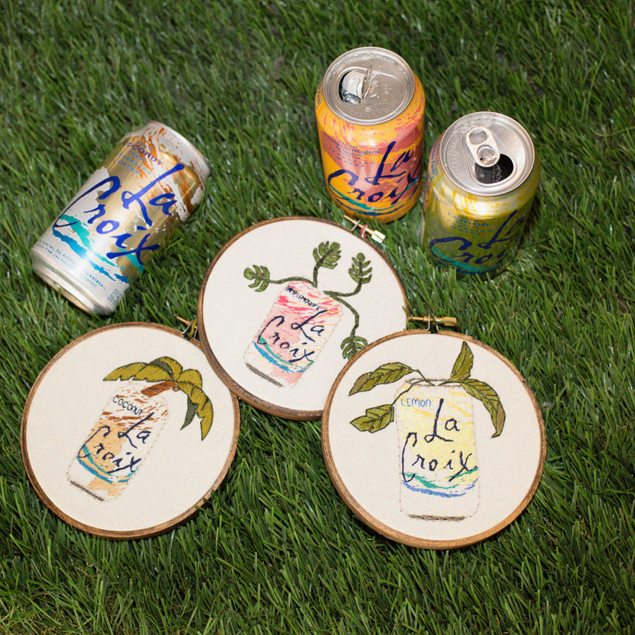 Passionfruit La Croix cross stitch can with flowers | pipe and row seattle