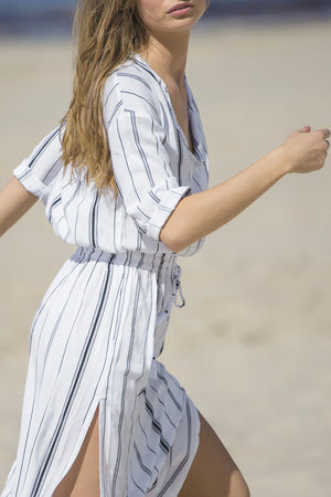 RUE STIIC LAGOON SIDE SLIT STRIPED MAXI DRESS | PIPE AND ROW