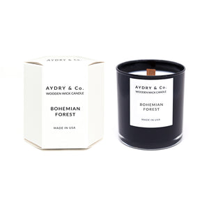 bohemian forest aydry and co wooden wick candle soy coconut wax | pipe and row