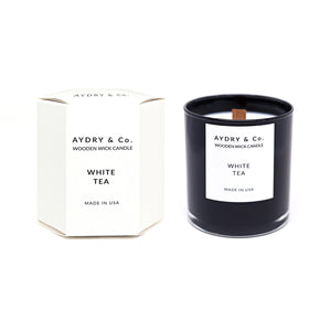 white tea aydry and co wooden wick candle soy coconut wax | pipe and row