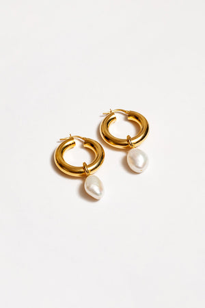 large PEARL HOOPS GOLD WOLF CIRCUS | PIPE AND ROW SEATTLE BOUTIQUE EARRINGS