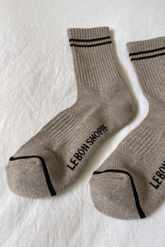 Le Bon Shoppe Boyfriend socks latte varsity ankle WFH cozy | Pipe and Row Seattle