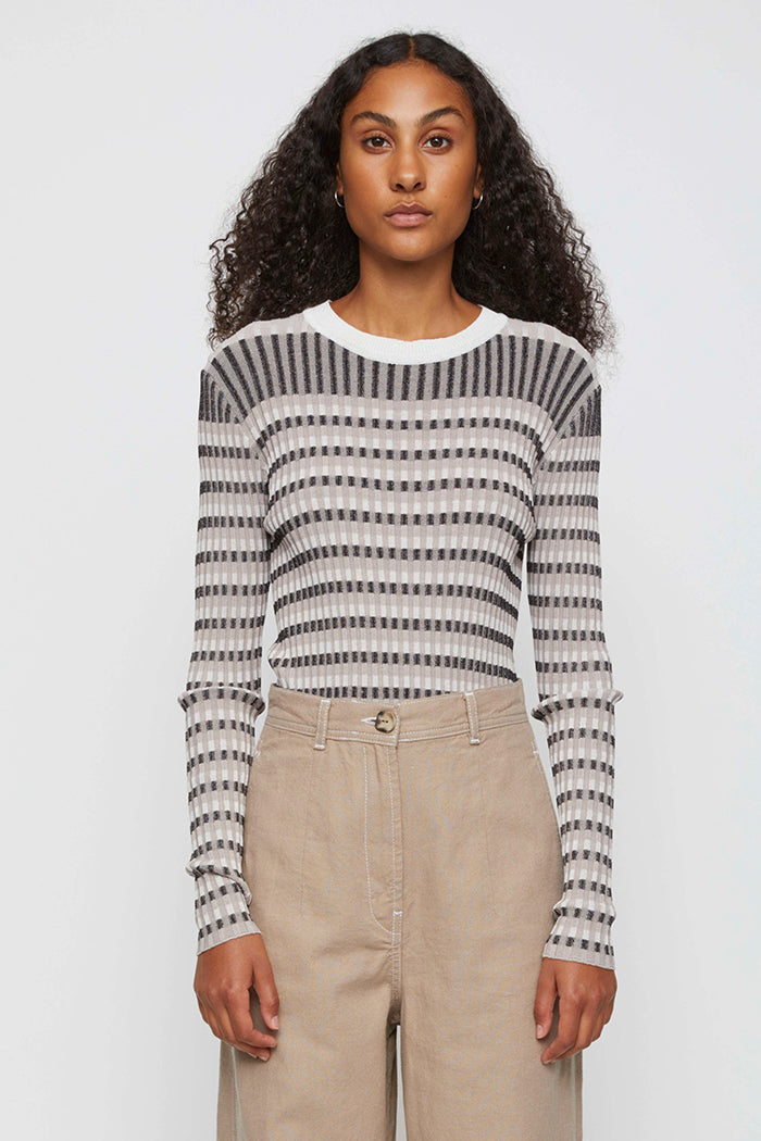 Just Female Lazio textured long sleeve striped knit | Pipe and Row