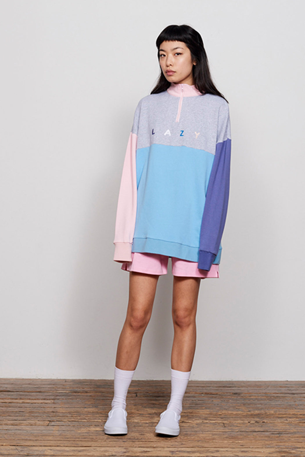 7eb255c67d Panel Half Zip Pastel Lazy Oaf Sweatshirt