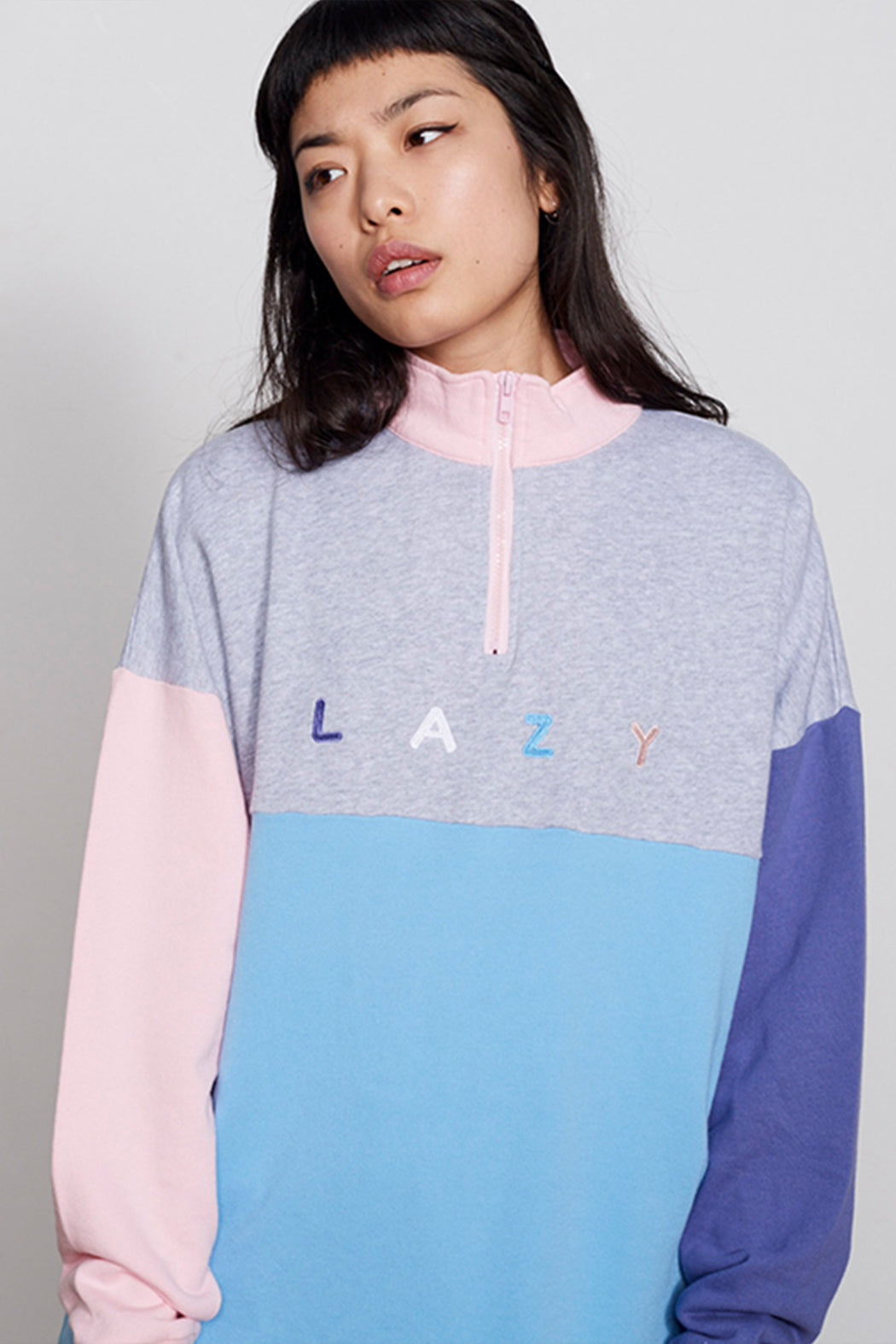 0984edc359 Panel embroidered Zip Pastel Lazy Oaf Sweatshirt