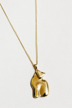 Wolf Circus Le chat pendant necklace gold cat | Pipe and Row boutique